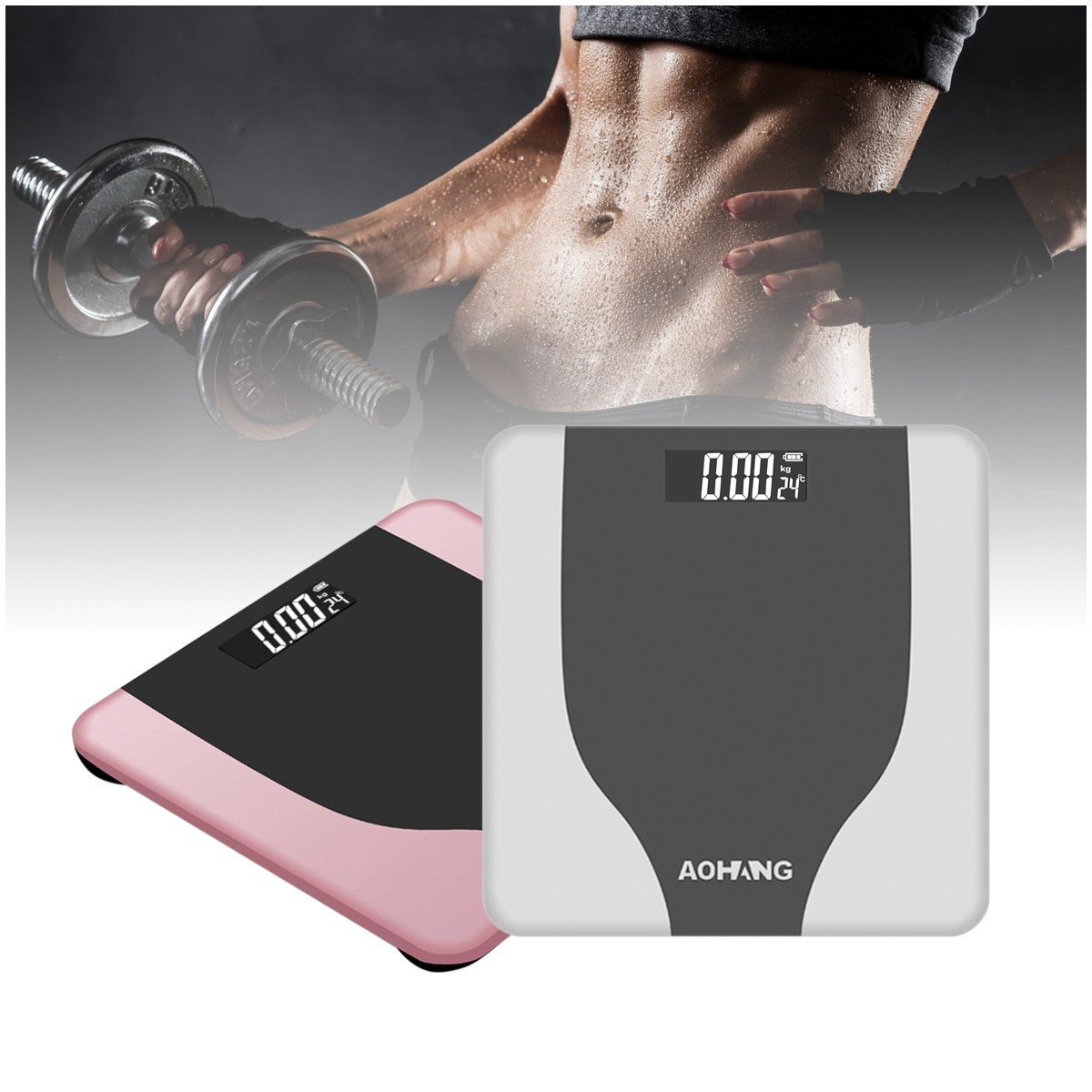 190kg/400lb Electronic LCD Digitial Bathroom Scales USB Charging Body Weight Scale Fitness Fat Healty Beauty Tempered Glass