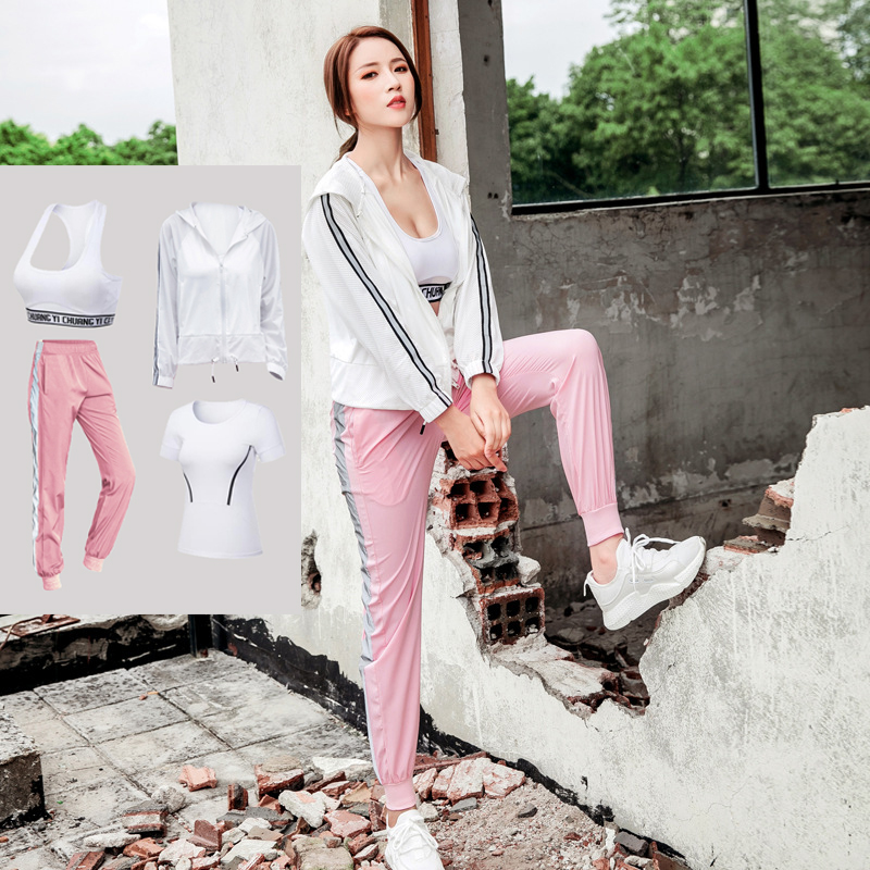 Nouveau Sport veste + t-shirt + soutien-gorge + pantalon séchage rapide filles respirant Yoga costumes course costume Gym Jogging Sport ensemble automne 4 en 1 XXL