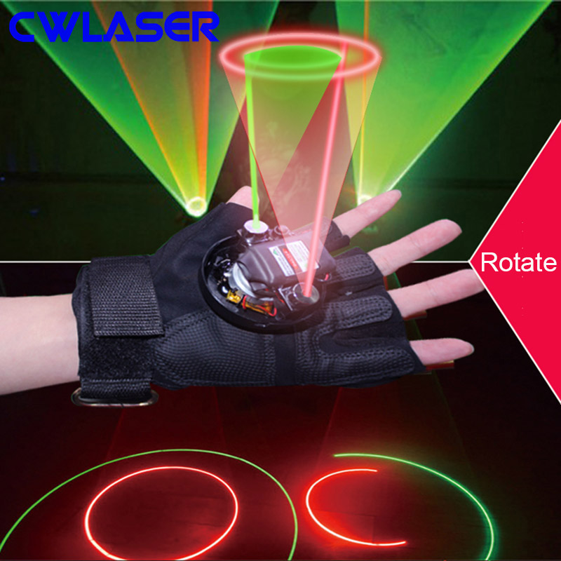 CWLASER 532nm Green / 650nm Red / 405nm Violet Laser Gloves with Finger Lasers and 2 Rotating Lasers in Palm (One Pair)