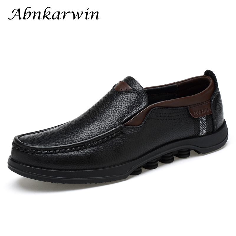 High Quality Mens Leather Shoes Genuine Leather Black Brown Men Casual Shoes Cow Leather Comfortable Moccasins