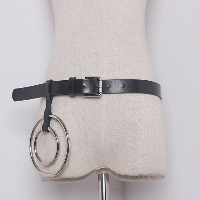 2016 модный бренд дизайнер женщины металлический круг подвески кожаные ремни модные простой большой круглый пояс украшения
