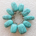 Envío Gratis 10 unids Azul Turquesa Caída Del Grano Pendiente 13x12x3mm (enviado al azar) min. order $10 de la mezcla)