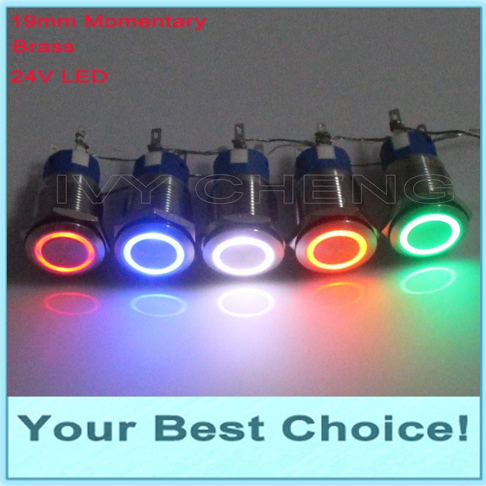 100pcs 19mm Chrome IP67 Waterproof Momentary 24V Ring LED Illuminated anti vandal Metal Push Button Switch