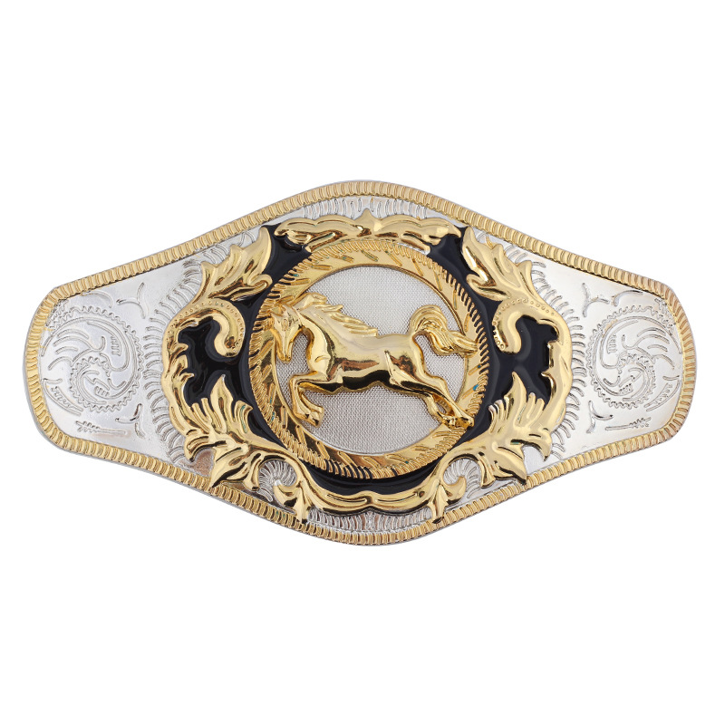Golden Horse Belt Buckle Super Large Double Color Alloy Smooth Buckle