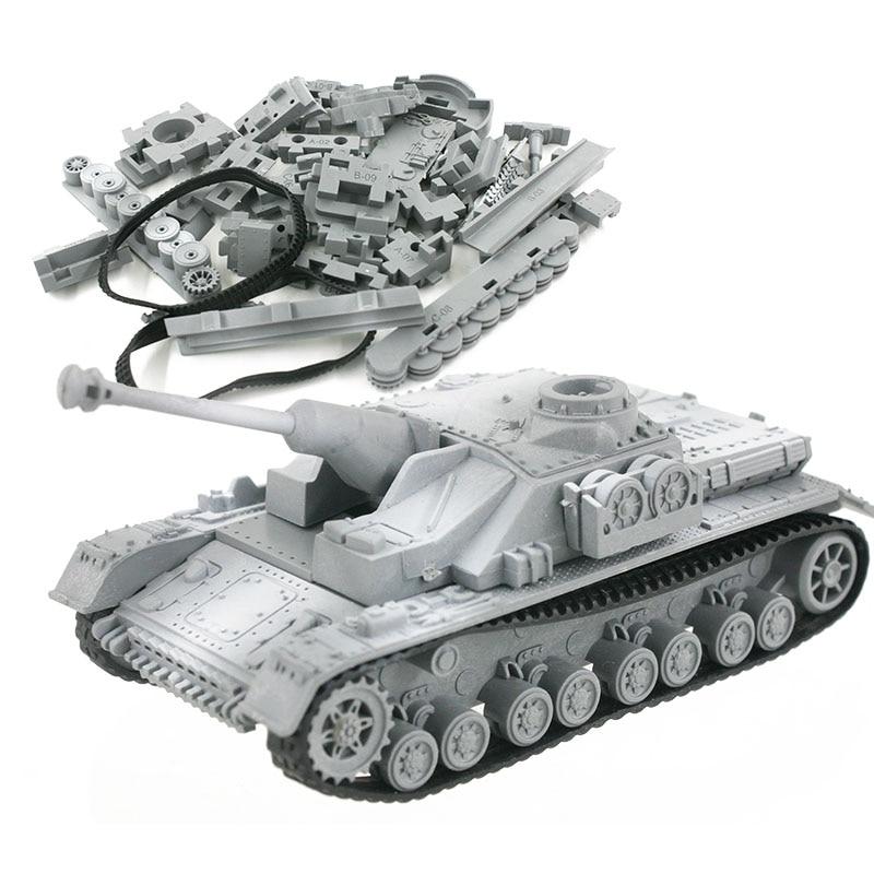 4D Model Building Kits Military Assembly Sturmgeschutz IV Tank Assault Gun Educational Toys Collection High-density Material