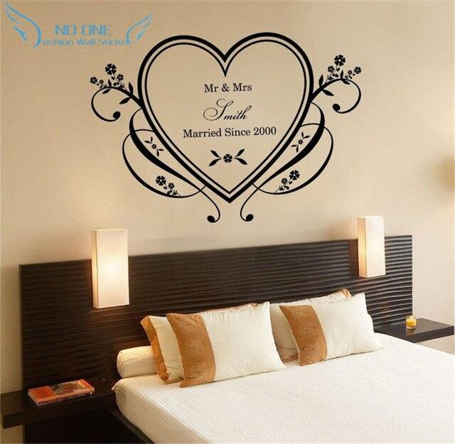 US $10.65 18% di SCONTO|Decorazione di cerimonia nuziale casa love heart  wall sticker camera da letto romantica decor personalizzato nome del colore  e ...