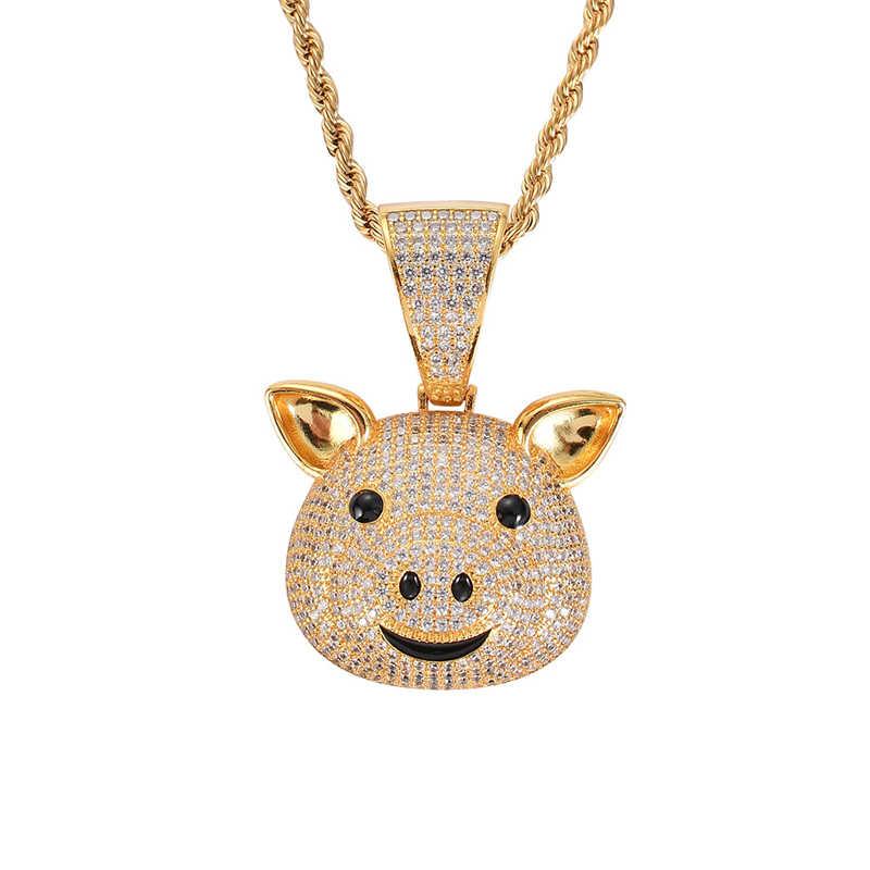 Missfox Die Geburt Der Sternzeichen Schwein Gold Anhänger Halskette Mit Niedlichen Tier Labor Diamant Anhänger männer Hip Hop schmuck Geschenk 2019