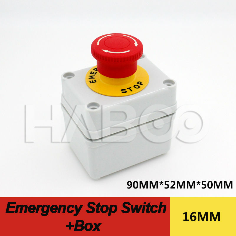 1PCS PACKING HABOO A16-F1R1 emergency stop switch 1NO+1NC with box dia.16mm 5A 250V