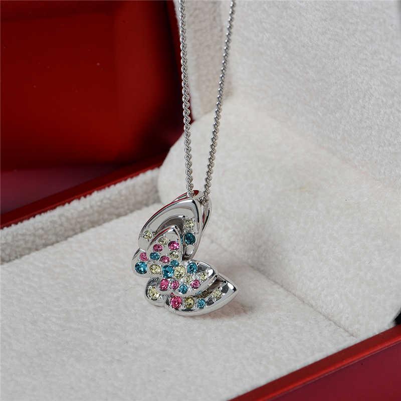 Женское ожерелье из серебра 925 пробы, с разноцветными фианитами