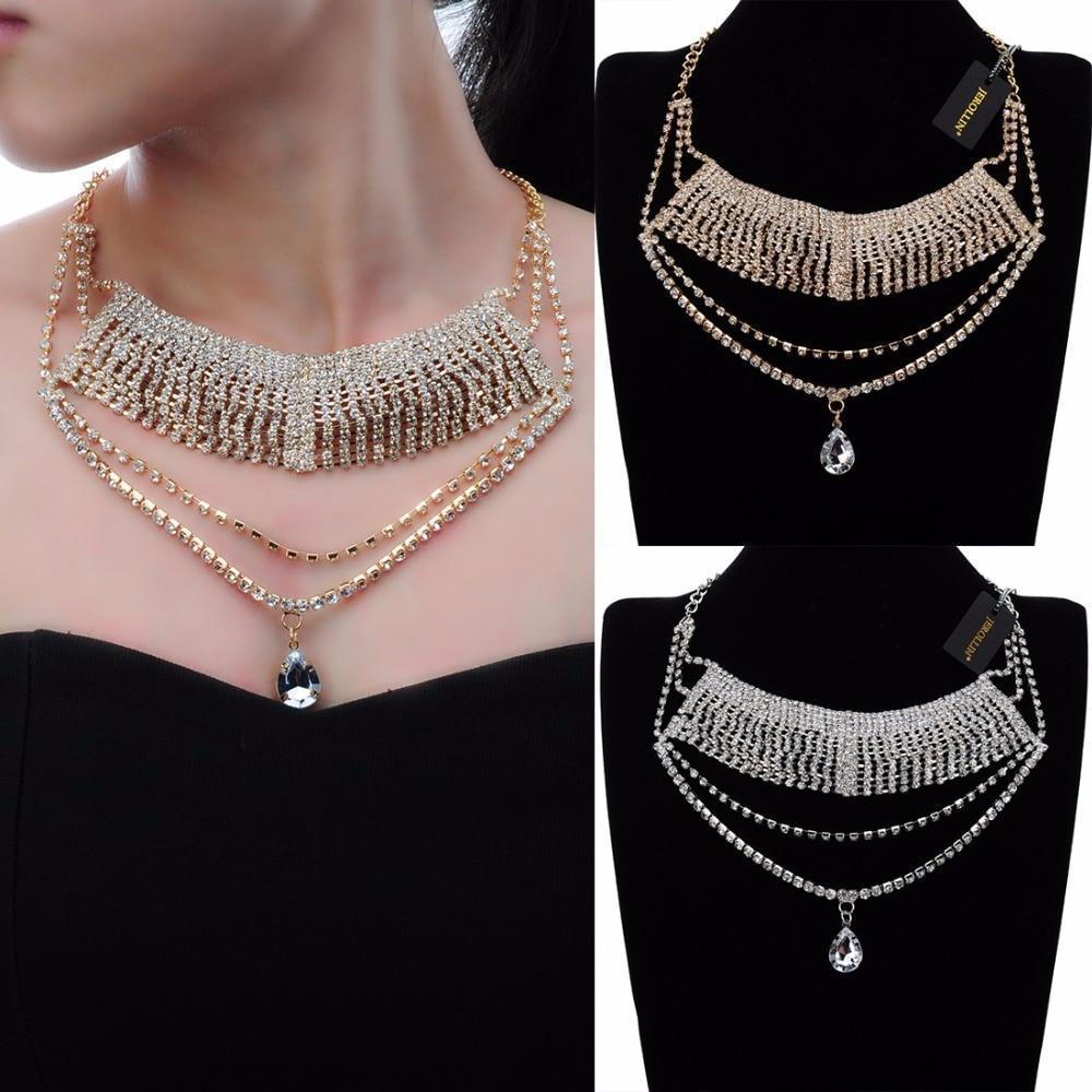 0224feee8374 Cadena de joyería de moda BLANCO CRISTAL choker collar declaración colgante  BiB collar
