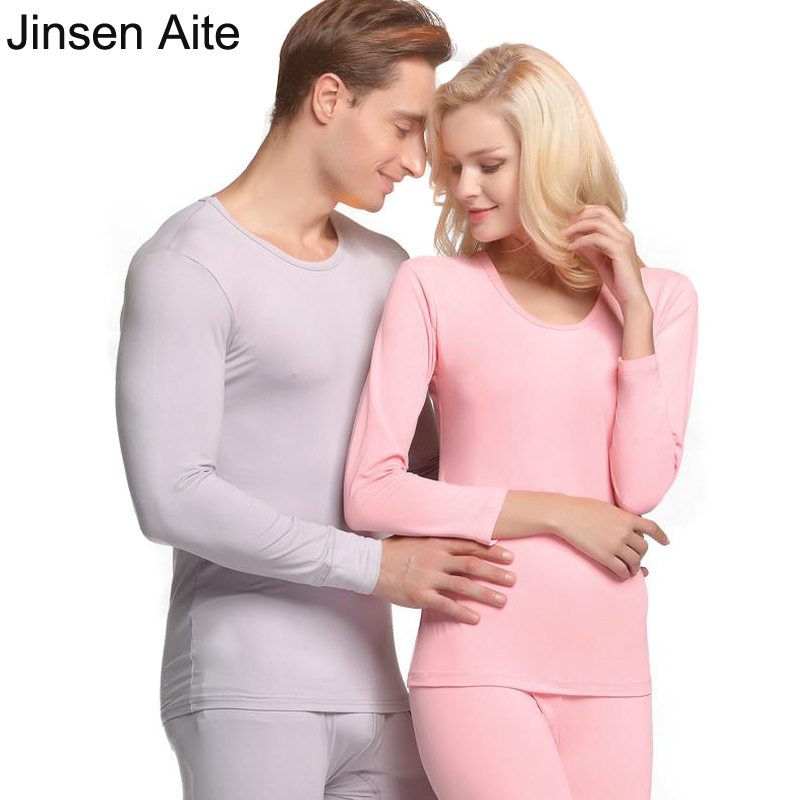 Jinsen Aite 2018 New Winter Autumn Couple Long Johns Fashion Elasticity Bottoming Women And Man Thermal Underwears Sets JS45