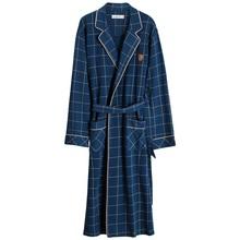 2019 Spring Autumn Bathrobe Men 100 Cotton sleep top Kimono Robes For Male Plaid Robes Long Bath Robe Bride Robe Dressing Gown cheap Knitted XL98231 Conventional sleeve V-Neck long sleeve