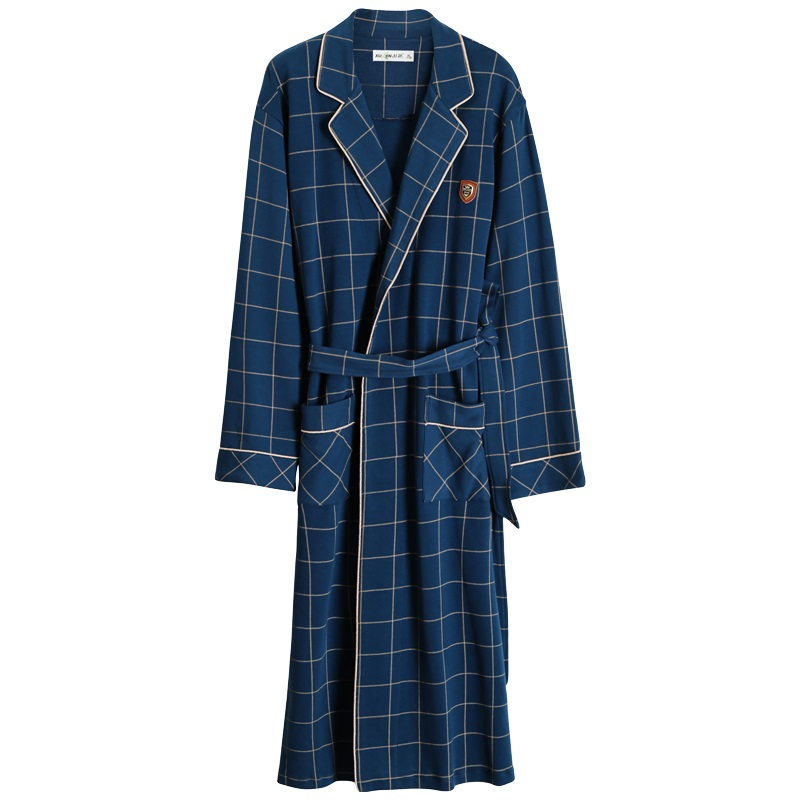 Bathrobe Men Kimono Dressing-Gown Male Sleep 100%Cotton Plaid for Long Top Spring Autumn title=
