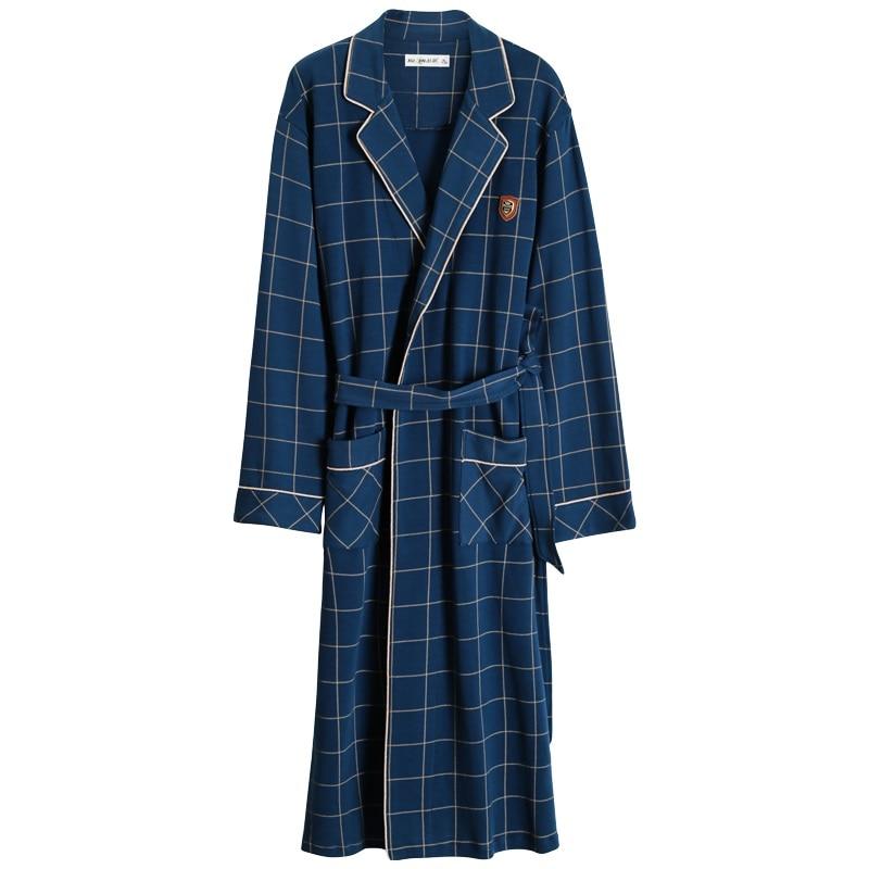 2021 Spring Autumn Bathrobe Men 100% Cotton sleep top Kimono Robes For Male Plaid Robes Long Bath Robe Bride Robe Dressing Gown