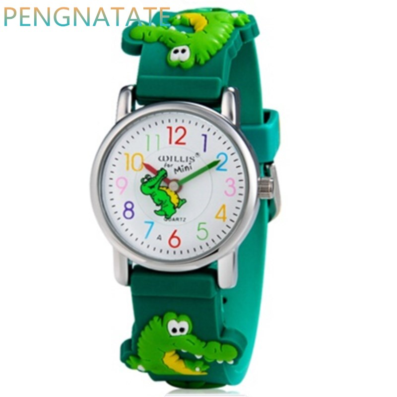WILLIS Brand Electronic Quartz-Watch Children 3D Crocodile Watches For Boys Sports Waterproof Clock Watches Girls PENGNATATE willis new fashion cartoon quartz watches 3d flowers children clock waterproof watches kids best leisure gift watch pengnatate