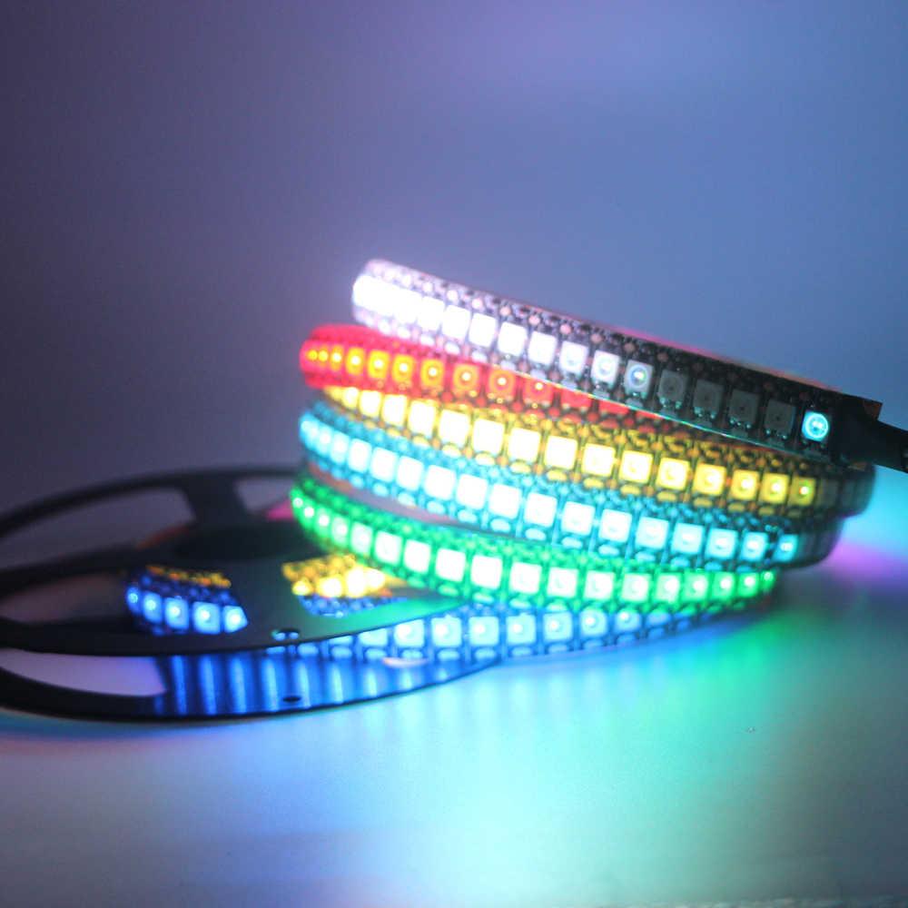 WS2812B Smart LED Piksel Strip Lampu WS2812 IC 5 V Hitam/Putih PCB Terpisah Addressable IP30/IP65/ IP67 Tahan Air Lampu RGB