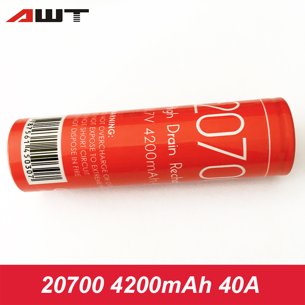 AWT 20700 Battery 40A 4200mAh Li-ion Rechargeable Battery For Vaporesso Armour Pro Ijoy Capo For IJOY 20700 Battery W050