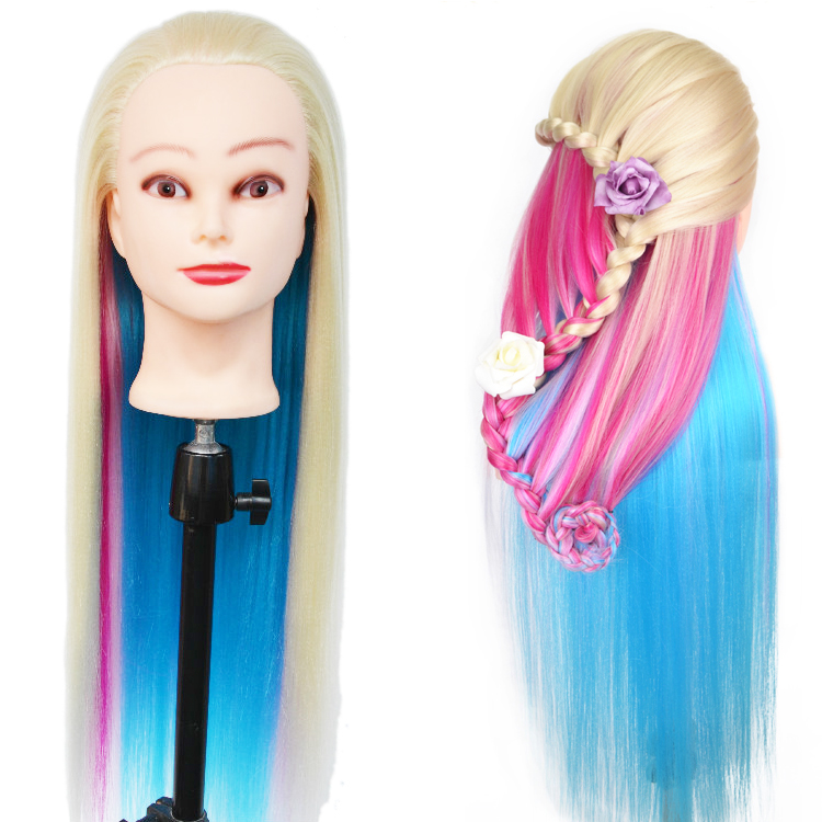 New Colorful Manikin Rainbow Hair Dummy Very Thick Yaki Dolls Head With Hair 65cm Long Hair Training Head Great Mannequin Head