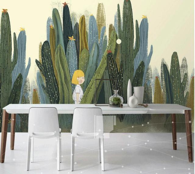 grand 3d cactus peintures murales photo papier peint pour salon cactus mur v g tal papier 3 d. Black Bedroom Furniture Sets. Home Design Ideas