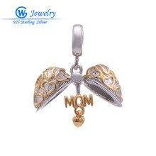 Encantos del corazón de la joyería de plata esterlina adapta pulseras hombre colgantes para hacer la joyería romántica para mamá GW Fine Jewelry S163H50