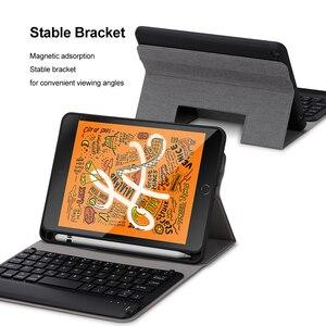 Image 3 - SeenDa clavier sans fil pour iPad Mini 5 sans fil Bluetooth clavier étui à rabat clavier couverture en lin pour iPad Mini 5