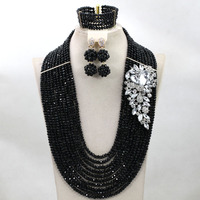 Gorgeous 10 Layers Nigerian Wedding African Beads Jewelry Set Black Crystal Beads Jewelry Set Handmade Free