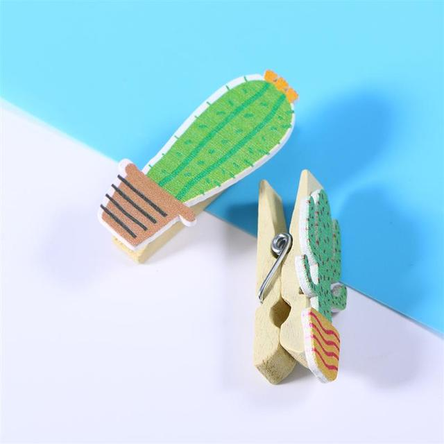 10pcs Wooden Cactus Wooden Memo Card Holder