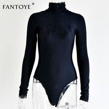 Long Sleeve Zipper High Neck Elastic Bodysuit PU27