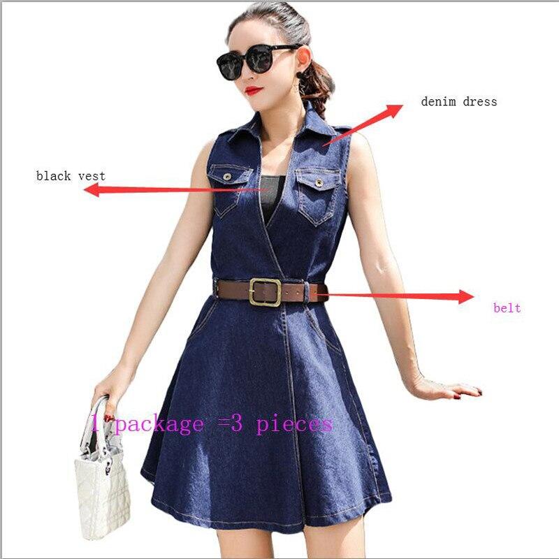 2b6422fb97a Casual Mode Sexy Plus Q358 Jeans Party Coréenne ligne Robes Femme Club  Taille D été Ceinture 2019 Robe A Denim 6awXYYA