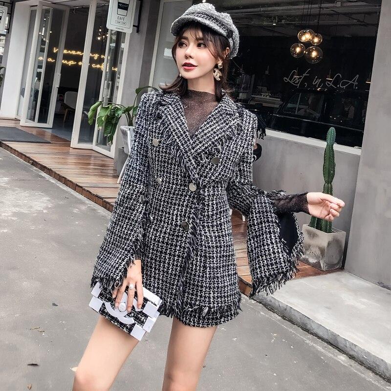2018 Blazer Noir Tweed Laine Manches Hiver Longue Shorts Plaid Costume Femmes Costumes Tassel De Veste Manteau Fringe Flare Long Tenues Ensembles Bureau rfr1q