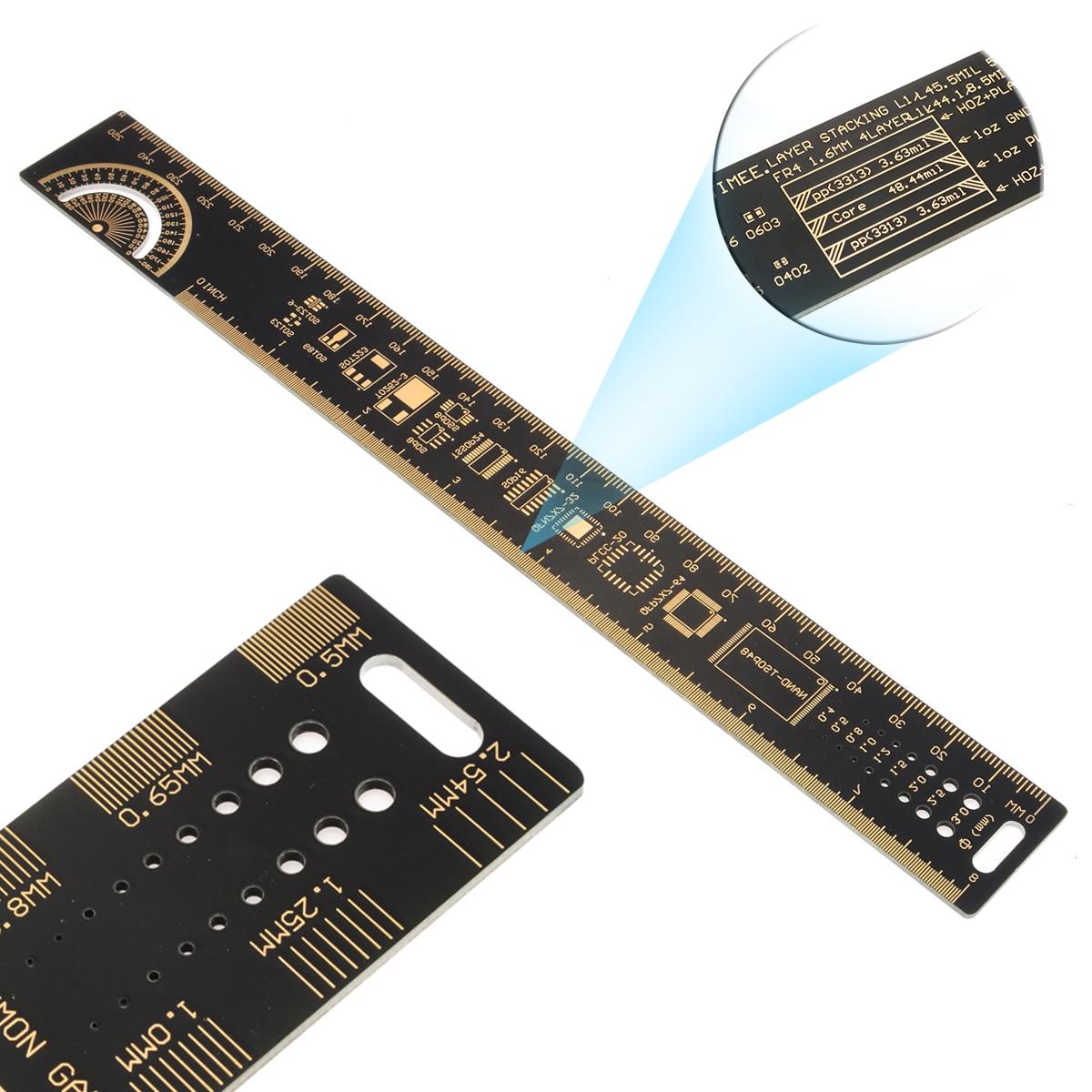 25cm 10 Inch Multifunctional PCB Ruler Measuring Tool Resistor Capacitor Kit