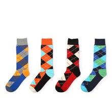 Новые моды для мужчин хлопчатобумажные носки долго носок высокое качество красочные Алмазный решетки проверил свободный размер 39-44