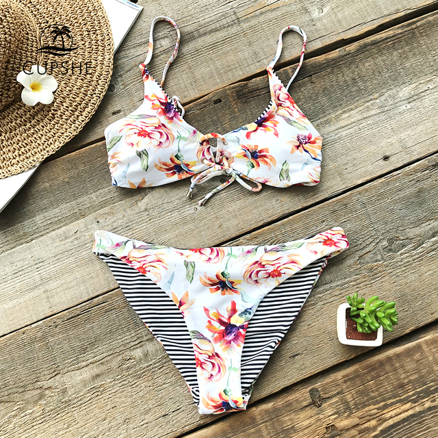 CUPSHE Floral Print And Striped Reversible Bikini Set Women Lace Up Two Pieces Swimwear 2020 Beach Bathing Suits Swimsuits 4
