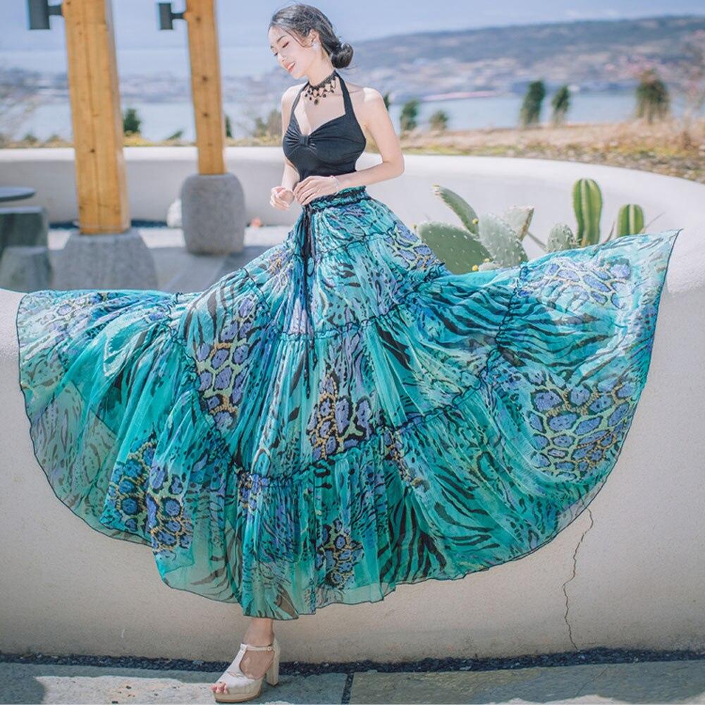 Pièces Skirt Plissee Tulle Jupe Gypsy Plage De Femmes Mousseline Soie Boho Bohême Plissée Longue two Floral Sets Maxi Jupe deux Femme 2018 Summer Ensemble wqU611