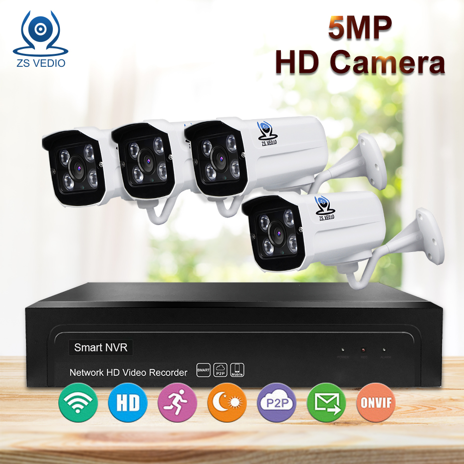 ZSVIDEO Surveillance System Security Camera POE Home font b Outdoor b font Motion 5MP Infrared Night