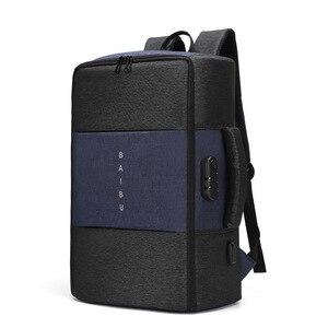 Image 1 - Мужской рюкзак BAIBU, многофункциональный водонепроницаемый рюкзак с защитой от кражи, 17 дюймов, USB, для ноутбука