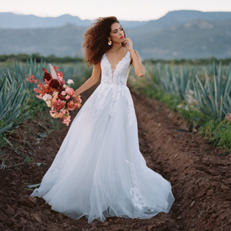 Bohemia Elegant Beach Wedding Dresses 2019 Sexy V-Neck A-Line Tulle Lace Appliques Backless Boho Dress Bridal