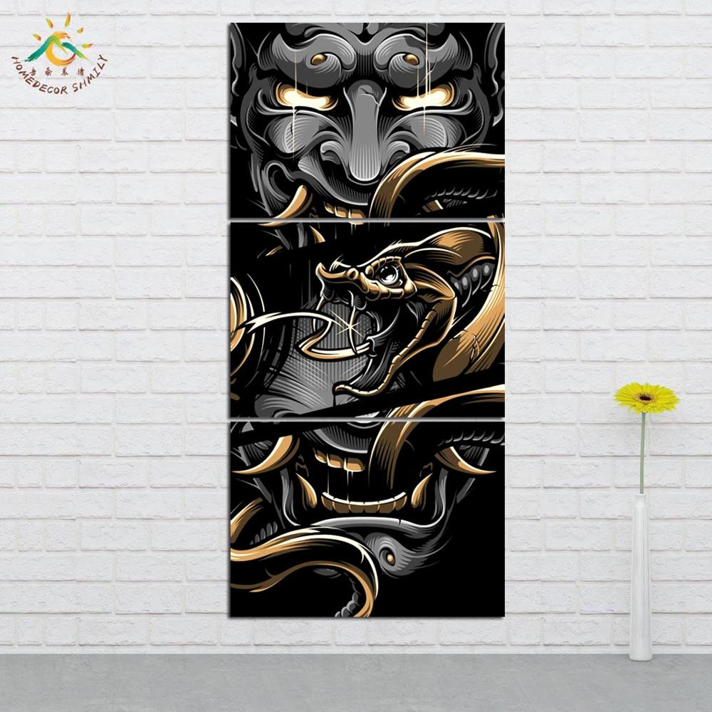 Blackout Brother Hannya Wall Art Canvas Painting Posters and Prints Art Print Decorative Poster Picture Decoration Home 3 Pieces in Painting Calligraphy from Home Garden