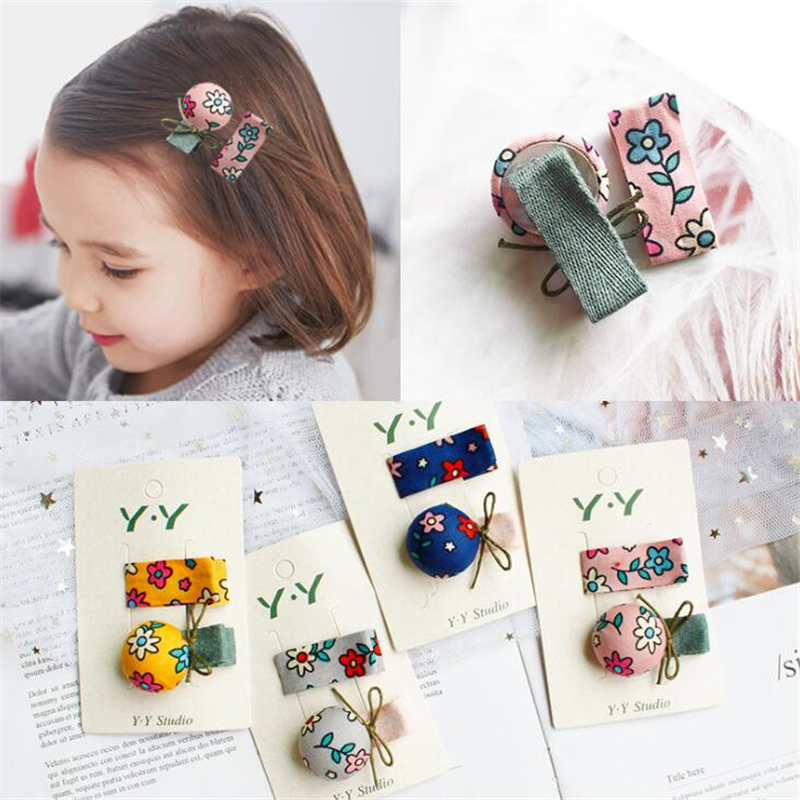 2 pcs/set Lovely Cloth Print Flower Hair Clips Set For Children Girls Korean Style Bow-knot Cute Kids Hairpins Barrette   Headwear