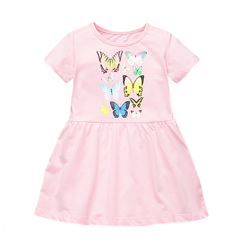 Baby girls new designed cartoon dresses with printed some butterflies kids new style short sleeve summer dress top dress 2018 hot selling baby girls cartoon dresses with printed some dinosaurs kids new designed autumn clothing top quality girls dresses