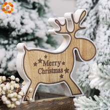 1PC Lovely Christmas Deer Wooden Ornaments Home Table Decoration Party Decorations Kids Toys DIY Gift Wood Craft