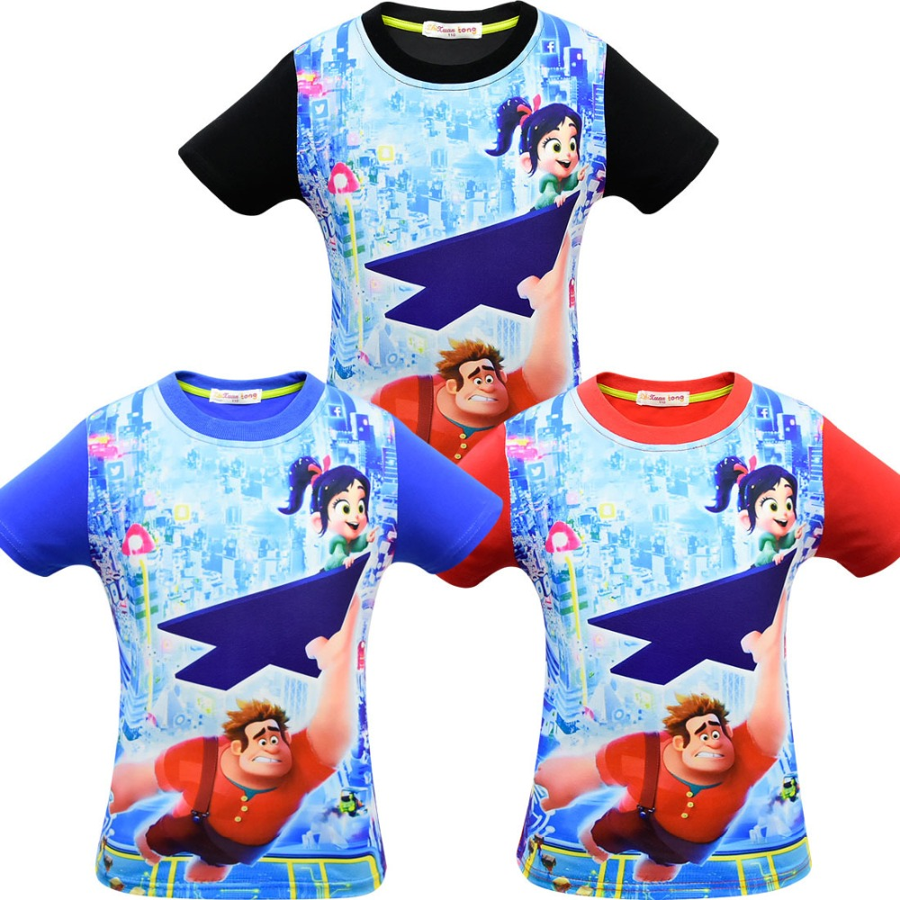 Wreck-It Ralph 2 Vanellope von Schweetz RALF JONES Costume Summer boys girls short sleeve cartoon print wreck-it Ralph T shirt