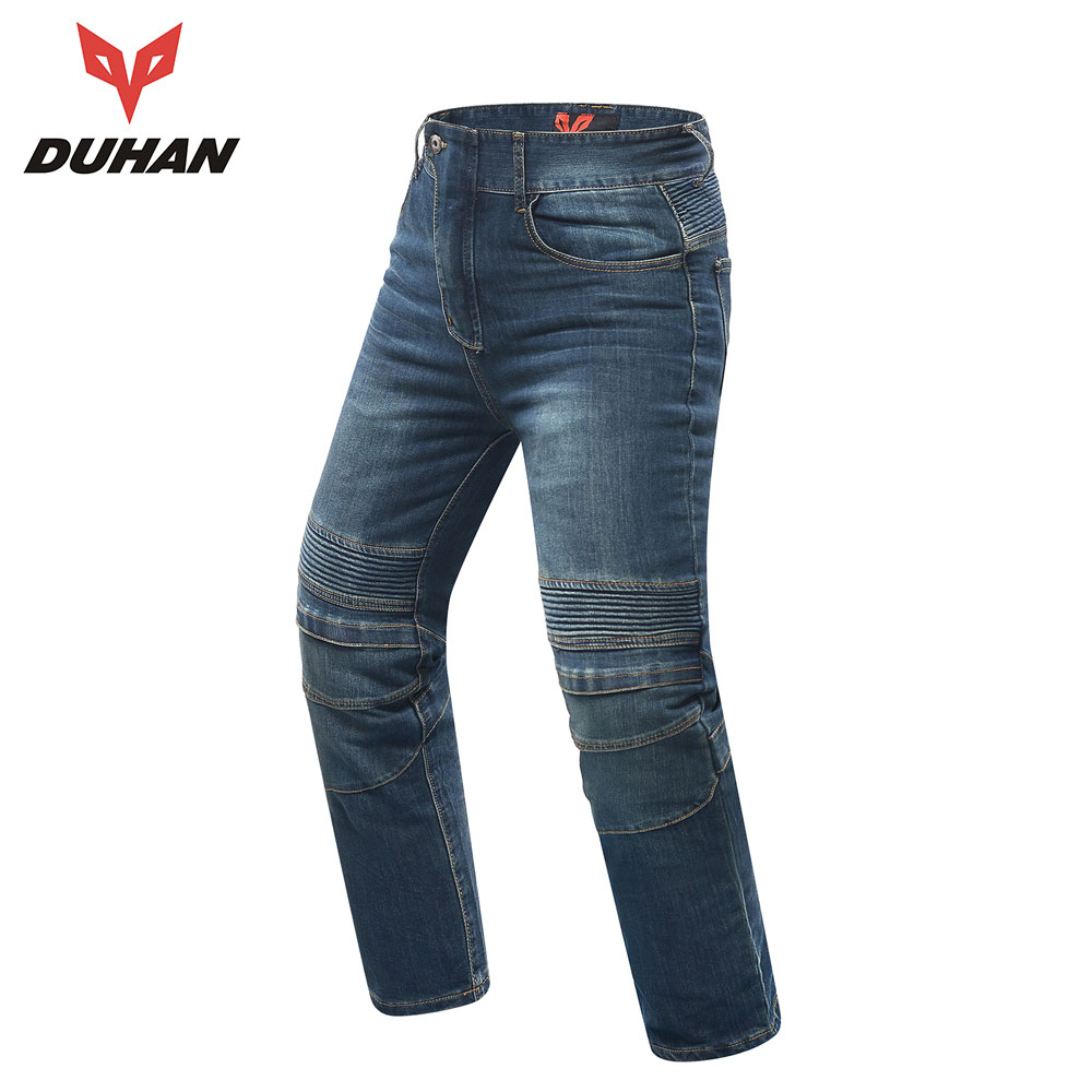 DUHAN Motorcycle Pants Men Moto Jeans Motocross Racing Jeans Black Casual Pants Wearproof Casual Pants  Knee Protector Guards 2017 men s fashion pure color fine casual jeans men high quality slim leisure jeans male blue black pencil pants jeans pants