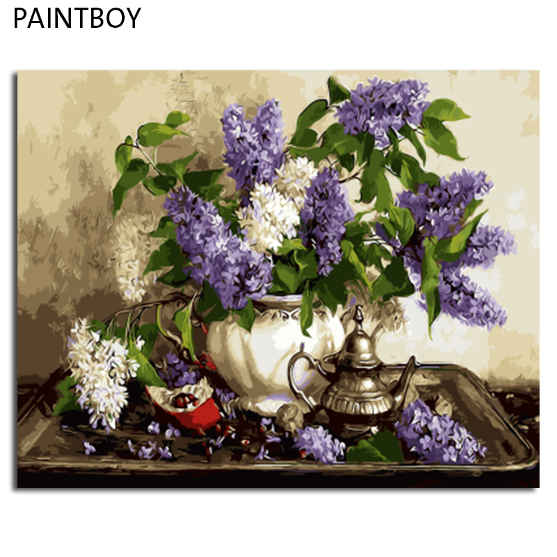 PAINTBOY Framed DIY Oil Painting Painting By Numbers Acrylic Paint On Canvas Home Decor For Living Room Of Flower