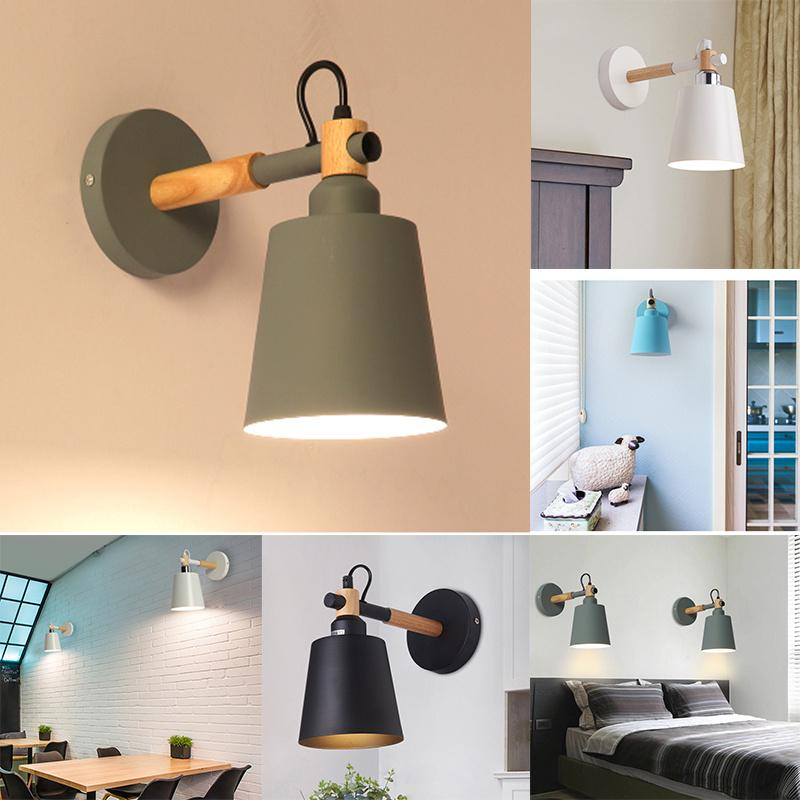 1pcs Modern Simplicity Wood Metal Wall Lamp Industrial Indoor Lighting Bedside Lamps LED|LED Indoor Wall Lamps| |  - title=