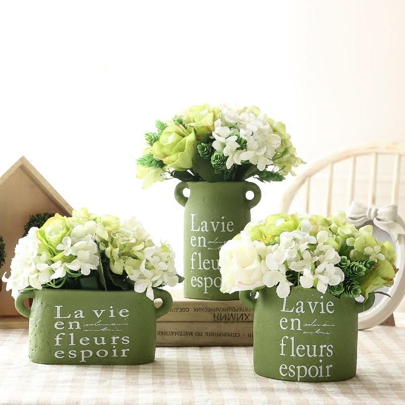 Lakberendezési díszek Zöld kerámia váza Figutines Artware váza könyvespolc dekoráció 1 darab ingyenes szállítás
