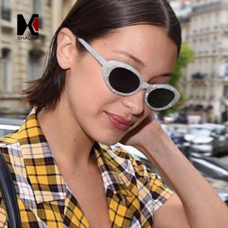 SHAUNA Fashion Shell Grain Frame Women Cat Eye Sunglasses Popular Ladies Clear Red Oval Lens Shades UV400