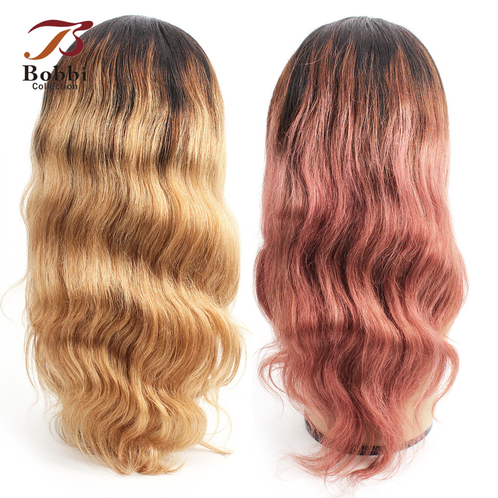 BOBBI COLLECTION Pre Plucked Glueless Lace Front Human Hair Wigs Body Wave Ombre Honey Blonde Pink 16 inch Non Remy Indian Hair