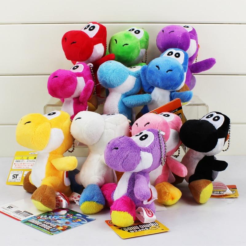 10pcs Super Mario Yoshi Plush Doll Toys Super Mario Keychain Decoration Yoshi Pendant Free shipping