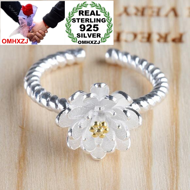 OMHXZJ Wholesale Jewelry Romantic Fashion Sweet Lotus Gift 925 Sterling Silver Golden Female For Woman Girl Resizable Ring RG48